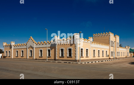 historical German barracks from colonial times, now youth hostel, Swakopmund, Namibia, Africa - Stock Photo