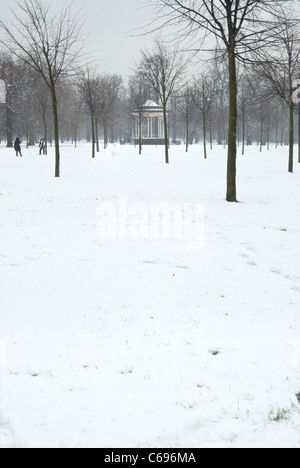 The bandstand in London's Hyde Park after snowfall - Stock Photo
