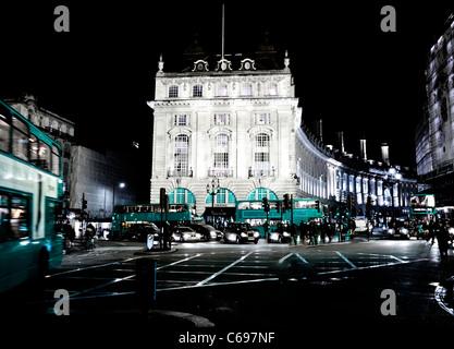 London Night Blue bus britain british classic double-decker sign tourist landmark Europe light art concept blue - Stock Photo