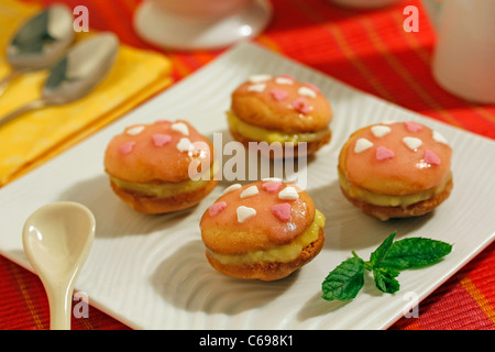 Saint Valentine's day whoopies. Recipe available. - Stock Photo