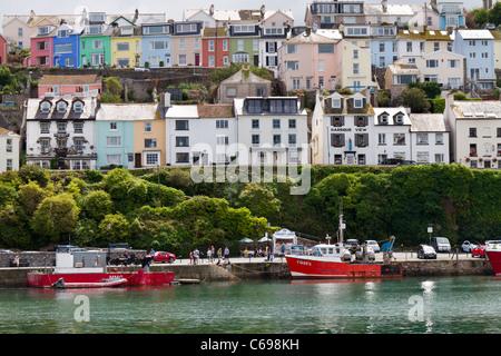 Houses overlooking Brixham harbour in Devon - Stock Photo
