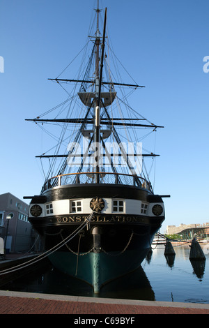 The historic ship USS Constellation is seen in Baltimore harbor in Maryland - Stock Photo