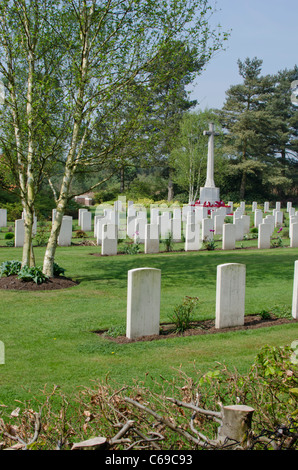 War memorial and graves at the German military cemetery, Cannock Chase, Staffordshire, England, UK - Stock Photo