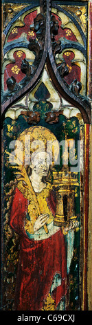 North Elmham rood screen, St. Barbara, holding a Castle tower, in which she was imprisoned by her father Norfolk, - Stock Photo