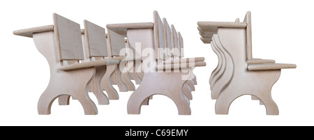 Rows of vintage wooden student desks that are designed to be lined up to form desks - path included - Stock Photo