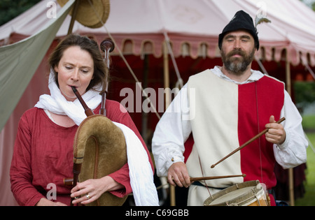 Couple Musicians at the Medieval Festival in Verdin Park, Northwich August 13th & 14th, with Living History Camps, - Stock Photo