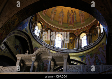 Upward view of the dome of the Greek Orthodox Catholicum or Catholicon chamber at the the Church of Holy Sepulchre - Stock Photo