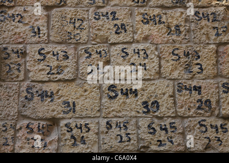 Colored numbers on the brick facade of a preserved house to emphasize the preservation nature of the work in which - Stock Photo