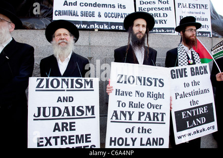 Orthodox Jewish anti Israeli / Zionism demonstration in London. Jews protesting against occupation and a closed - Stock Photo