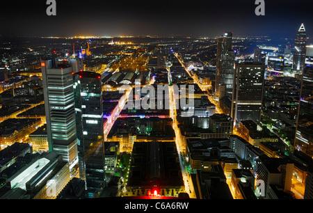 Panoramic view from the Main Tower across Frankfurt am Main at night, colourful lights, illumination Frankfurt am - Stock Photo