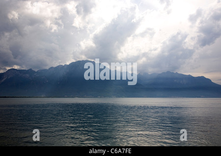 Alps viewed from Montreux - Summer - Stock Photo