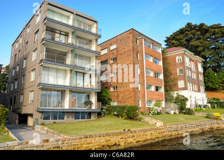 Expensive waterfront apartment blocks - Stock Photo
