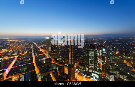 Panoramic view from the Main Tower across Frankfurt am Main at night, colourful lights, illumination Frankfurt am - Stock Photo