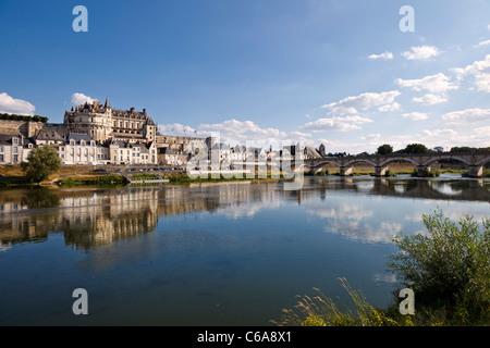 Amboise chateau on the Loire River, Loire Valley, Indre et Loire, France, Europe - Stock Photo