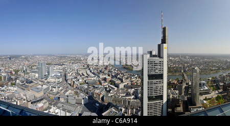 Panorama, facing south, Sachsenhausen, Main Tower, Frankfurt am Main, Hesse, Germany, Europe - Stock Photo