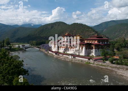 view of the Dzong in Punakha. bhutan - Stock Photo