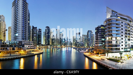Spectacular skyline at night, Dubai Marina, Dubai, United Arab Emirates, Middle East - Stock Photo