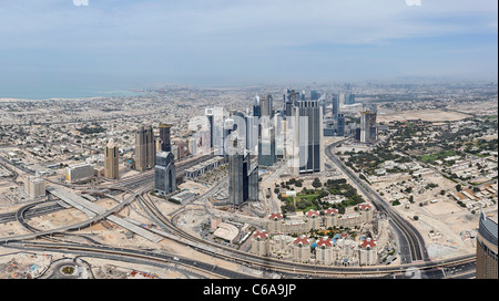View of Dubai SHEIK ZAYED ROAD, from the highest observation deck in the world, AT THE TOP, Burj Khalifa, Dubai Stock Photo