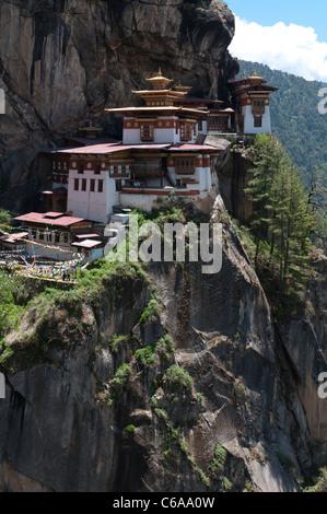 Taktshang Goemba. Tigers nest monastery. view cliff. Paro valley, bhutan - Stock Photo