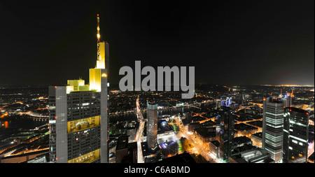 Panorama at night, facing south, Sachsenhausen, Main Tower, Frankfurt am Main, Hesse, Germany, Europe - Stock Photo