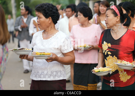 thai people bringing present for traditional wedding ceremony, uttaradit, thailand - Stock Photo