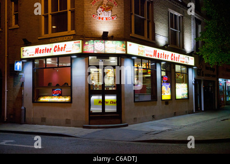 Master Chef restaurant at night in Norwich, UK - Stock Photo
