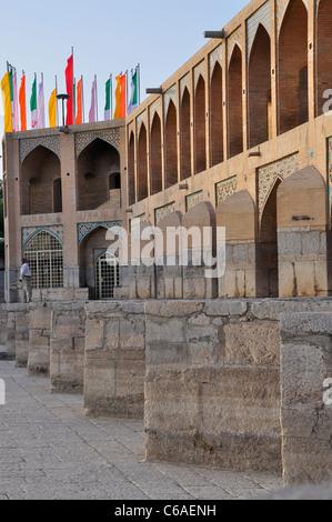 Side View of Khaju Bridge, Isfahan Iran - Stock Photo