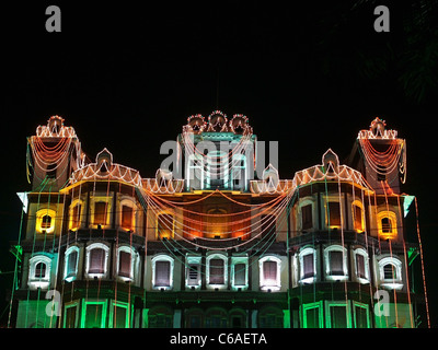 Indore Palace, decorated with light at evening of 15th august. Indore, Madhya Pradesh, India - Stock Photo