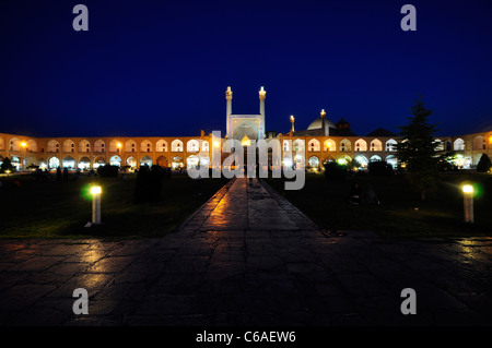 Night shot from Nagshe Jahan Square with Shah Mosque (Imam Mosque) in background, Isfahan Iran. - Stock Photo