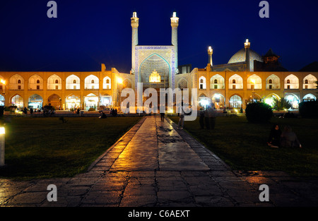 Night shot from Imam Mosque (Shah Mosque) in naghse Jahan Square (Imam Square), Isfaha Iran. - Stock Photo
