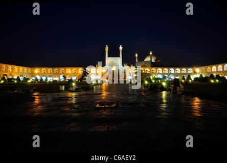 The Shah Mosque and Naghshe Jahan Square at night, Isfahan Iran. - Stock Photo