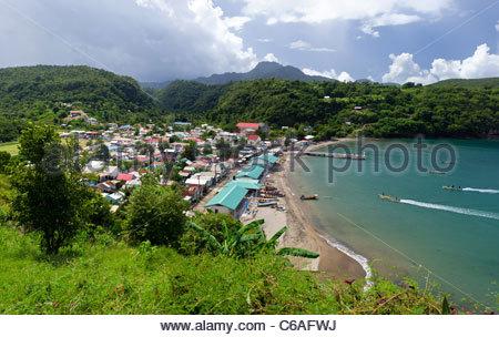 Panorama of Anse La Raye bay in St. Lucia - Stock Photo