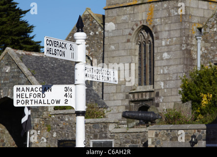 Sign post in St.Keverne, Lizard Peninsula, Cornwall, UK - Stock Photo
