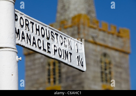 Road sign in the village of St.Keverne, Lizard Peninsula, Cornwall, UK - Stock Photo