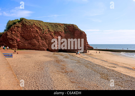 Red Rock Beach and Langstone Rock at Dawlish Warren in Devon - Stock Photo