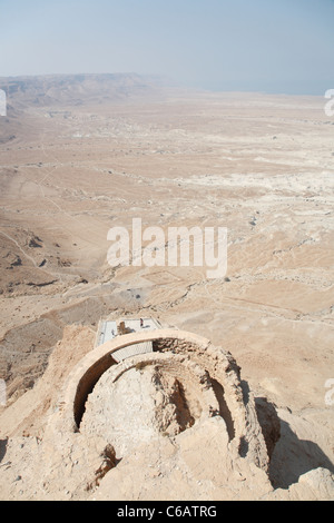 Ancient ruins, Masada, Dead Sea, Israel - Stock Photo