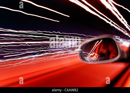 Road traffic, blurred lights, light traces, light art, dynamic, colorful, evening, Hamburg, Germany, Europe - Stock Photo