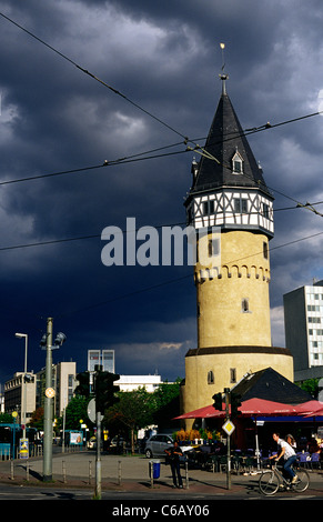 The Bockenheimer Warte, one of the few remaining medieval defence towers in Frankfurt am Main. The tower was built - Stock Photo