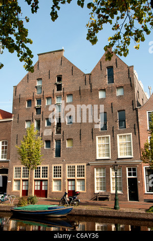 Leiden Netherlands Oude Rijn canal Old Rhine River - Stock Photo