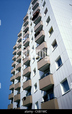 Balconies on an apartment tower in Sankt Pauli district of Hamburg. - Stock Photo