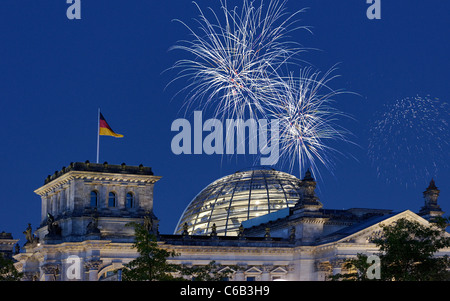 Fireworks over the Reichstag parliament, Berlin, Germany, Europe - Stock Photo