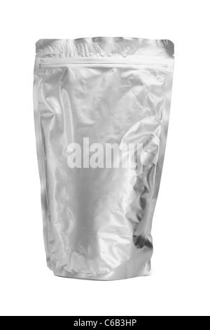 Sealed aluminum bag standing on white background - Stock Photo