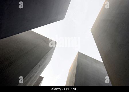 Concrete pillars of the Holocaust memorial, memorial, architect Peter Eisenman, Tiergarten, Mitte district, Berlin, - Stock Photo
