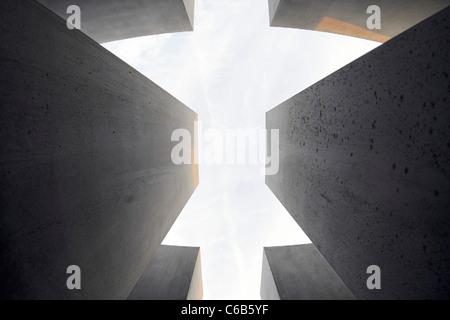 Concrete pillars of the Holocaust memorial, memorial, architect Peter Eisenman, Tiergarten, Mitte district, Berlin, - Stock Photo