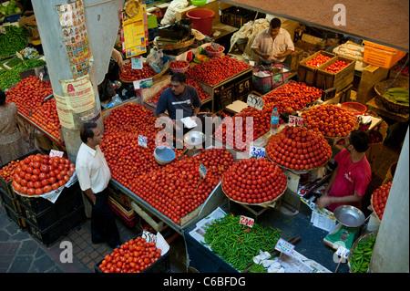 Tomato Market Stall in Central Market, Port Louis, Mauritius - Stock Photo