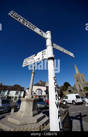 Village square, St.Keverne, Lizard Peninsula, Cornwall, UK - Stock Photo