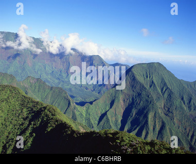 Aerial view of West Maui Mountains, Maui, Hawaii, United States of America - Stock Photo