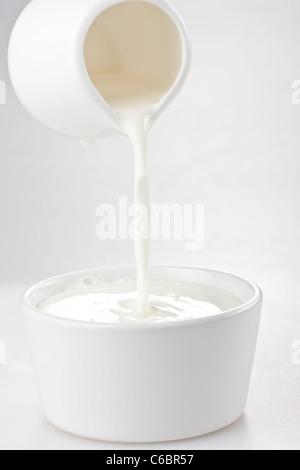 Milk Poured Into a Bowl - Stock Photo