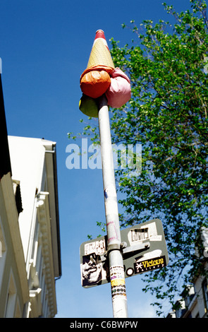 Someone's practical joke with a traffic signpost in Sankt Pauli district of Hamburg. - Stock Photo