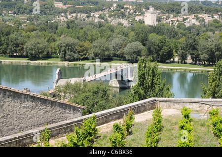 Pont Saint-Bénezet also called Pont d'Avignon over Rhone river in Avignon, Vaucluse Department, Provence region - Stock Photo